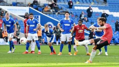 Manchester United beat Brighton with last-gasp Bruno Fernandes penalty